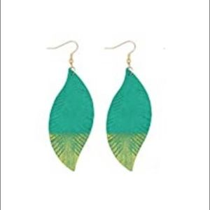 3/$25 NWT Genuine leather gold dipped earrings